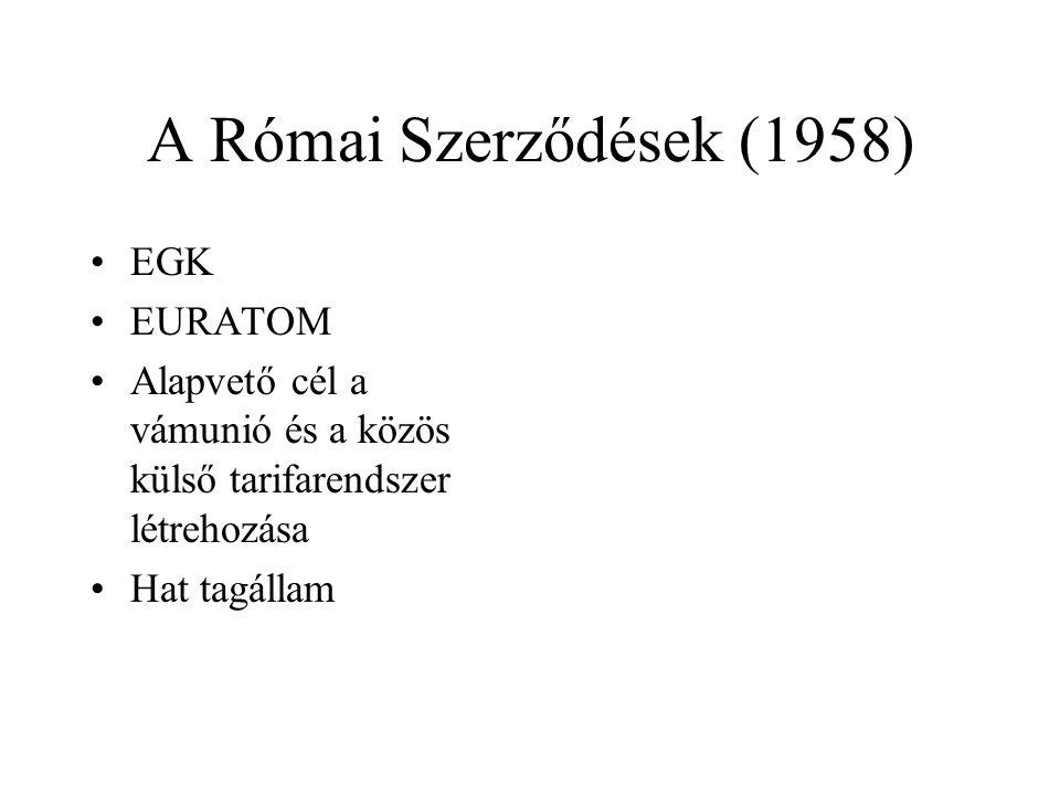 A Római Szerződések (1958) EGK EURATOM
