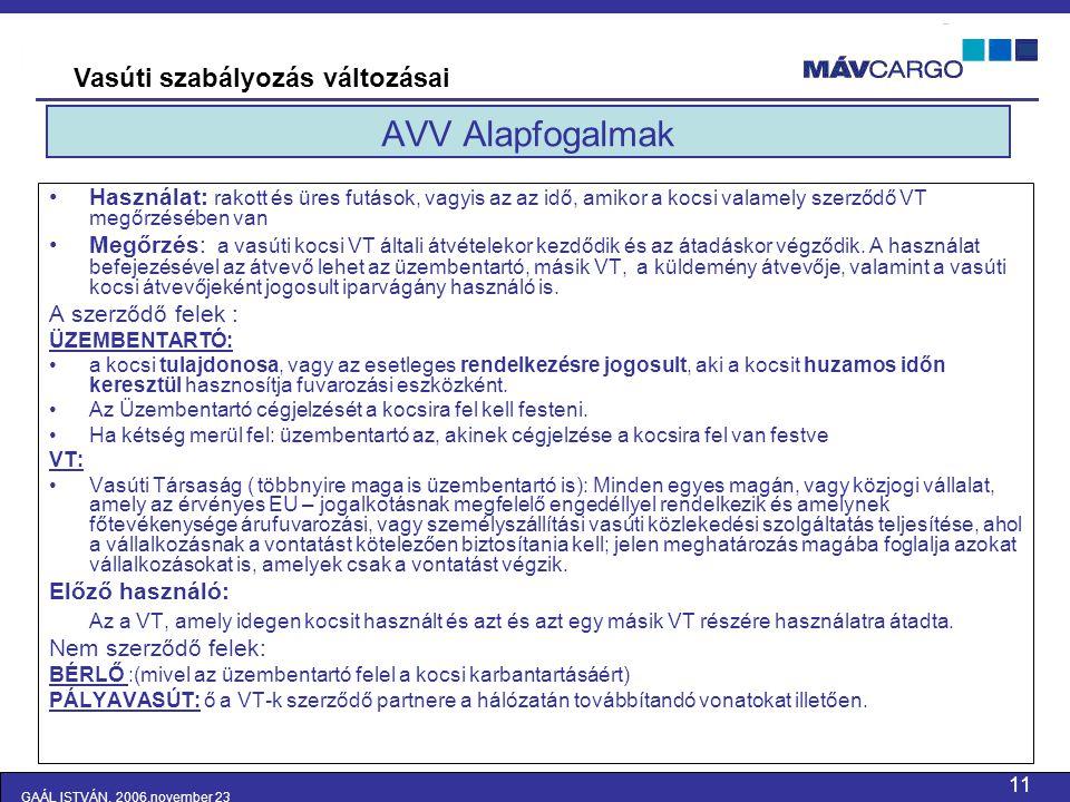 AVV Alapfogalmak Vasúti szabályozás változásai