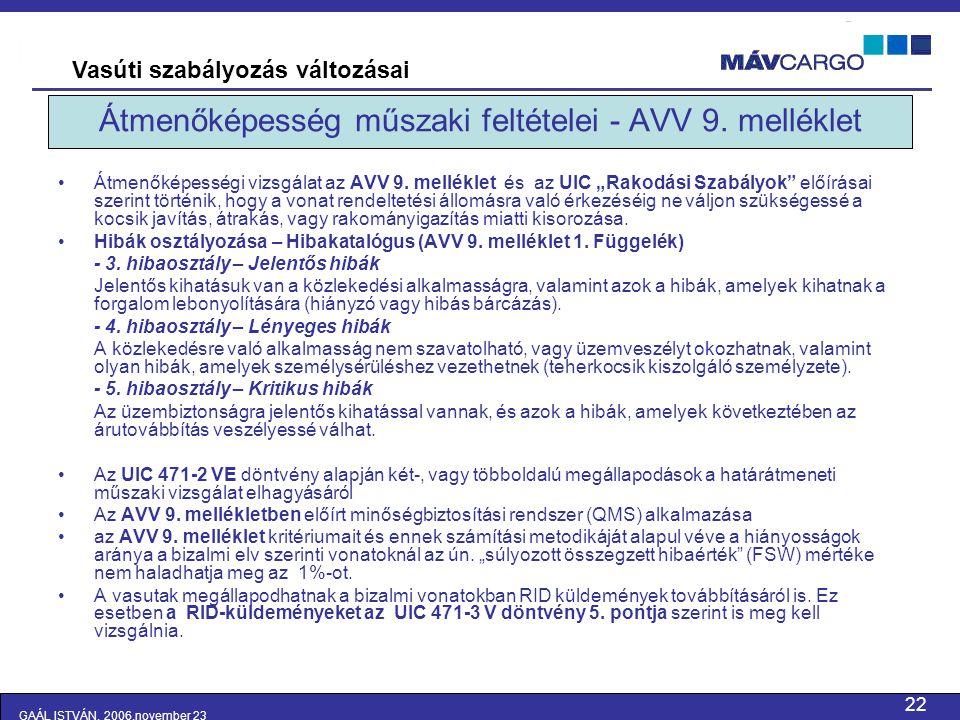 Átmenőképesség műszaki feltételei - AVV 9. melléklet