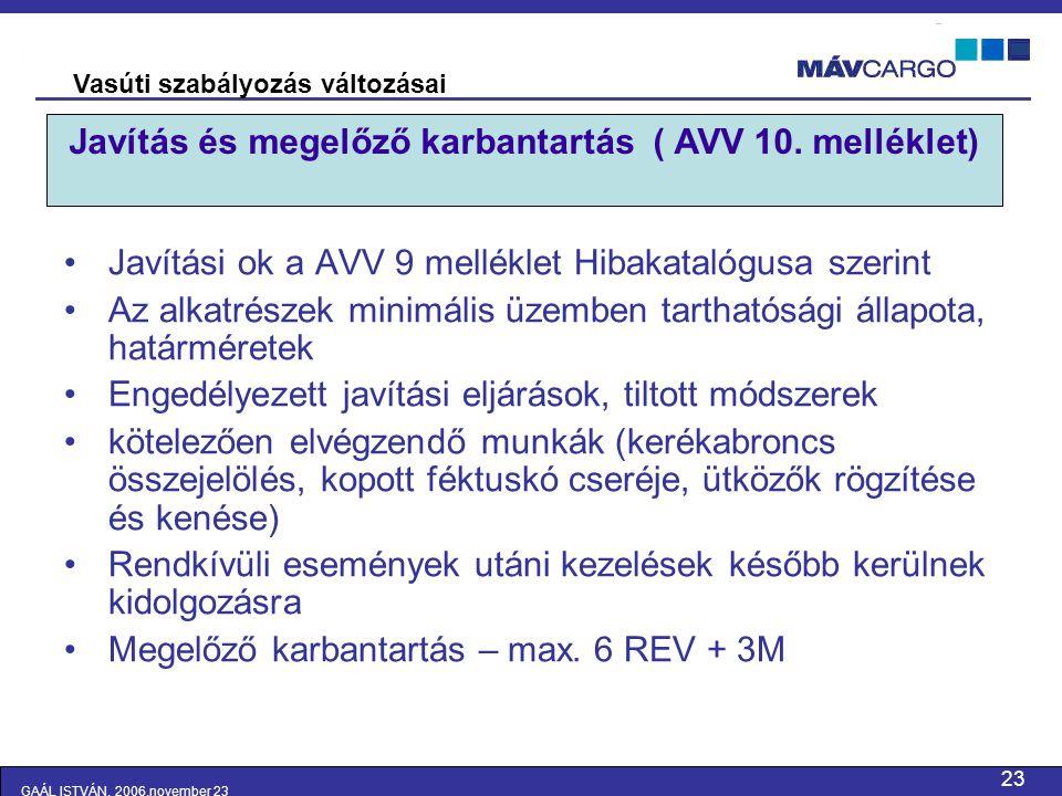 Javítás és megelőző karbantartás ( AVV 10. melléklet)