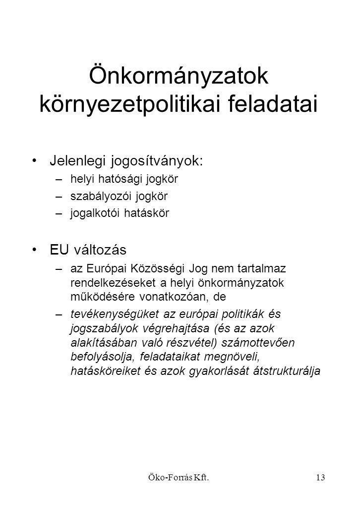 Önkormányzatok környezetpolitikai feladatai
