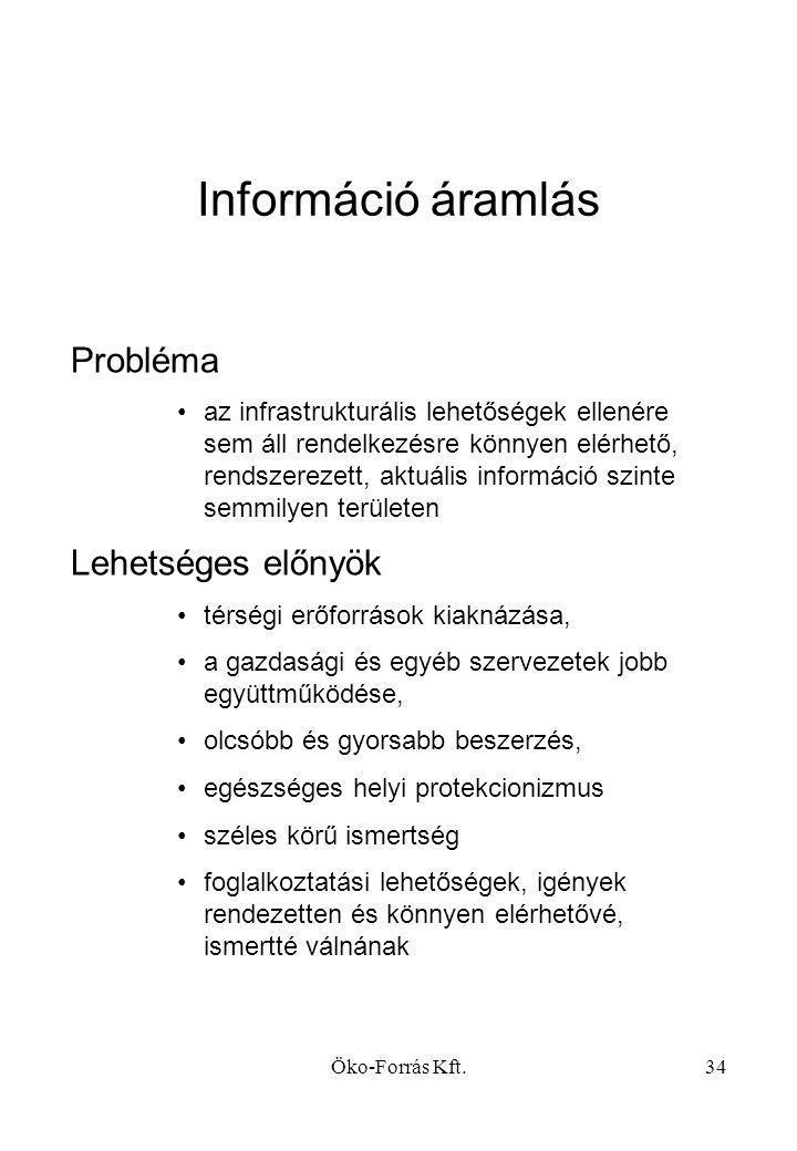 Információ áramlás Probléma Lehetséges előnyök