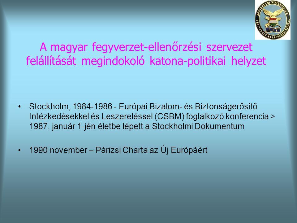 A magyar fegyverzet-ellenőrzési szervezet felállítását megindokoló katona-politikai helyzet