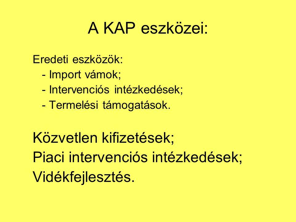 A KAP eszközei: Közvetlen kifizetések;