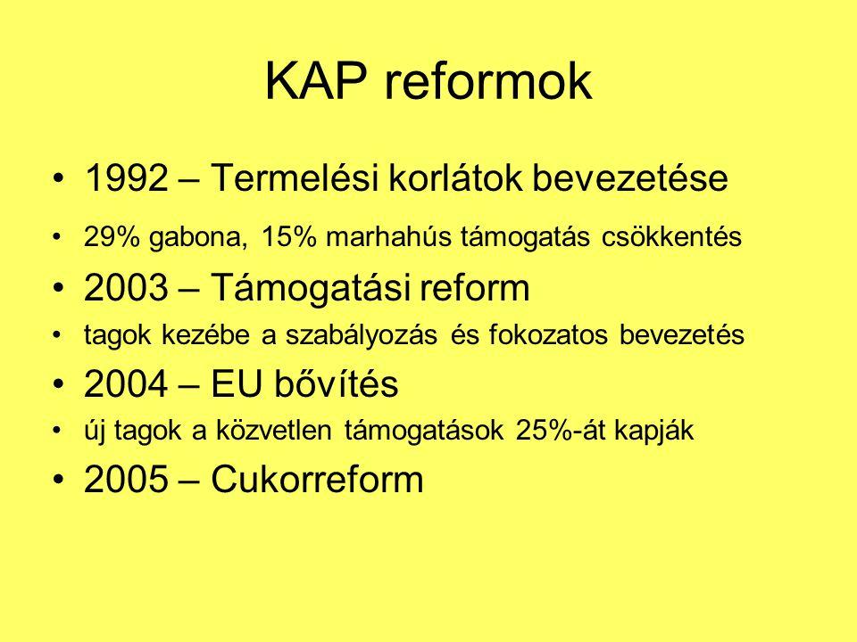 KAP reformok 1992 – Termelési korlátok bevezetése
