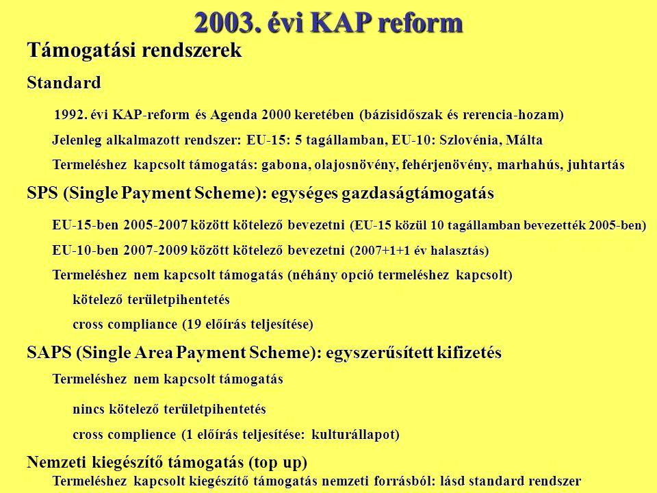 2003. évi KAP reform Támogatási rendszerek Standard