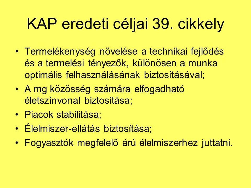 KAP eredeti céljai 39. cikkely