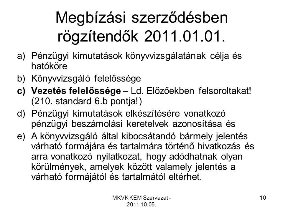Megbízási szerződésben rögzítendők 2011.01.01.