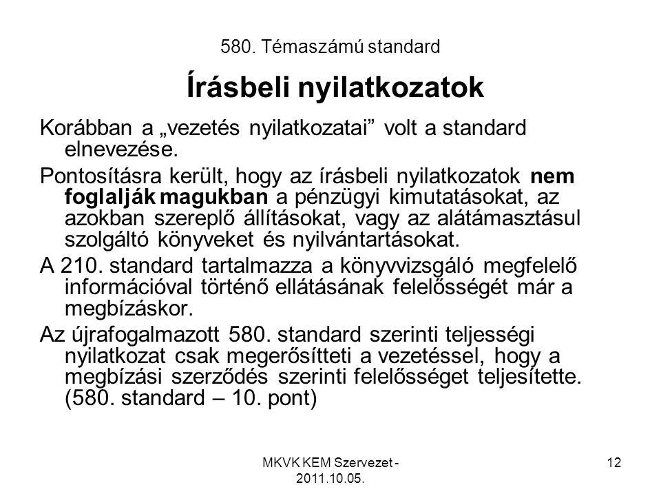 580. Témaszámú standard Írásbeli nyilatkozatok