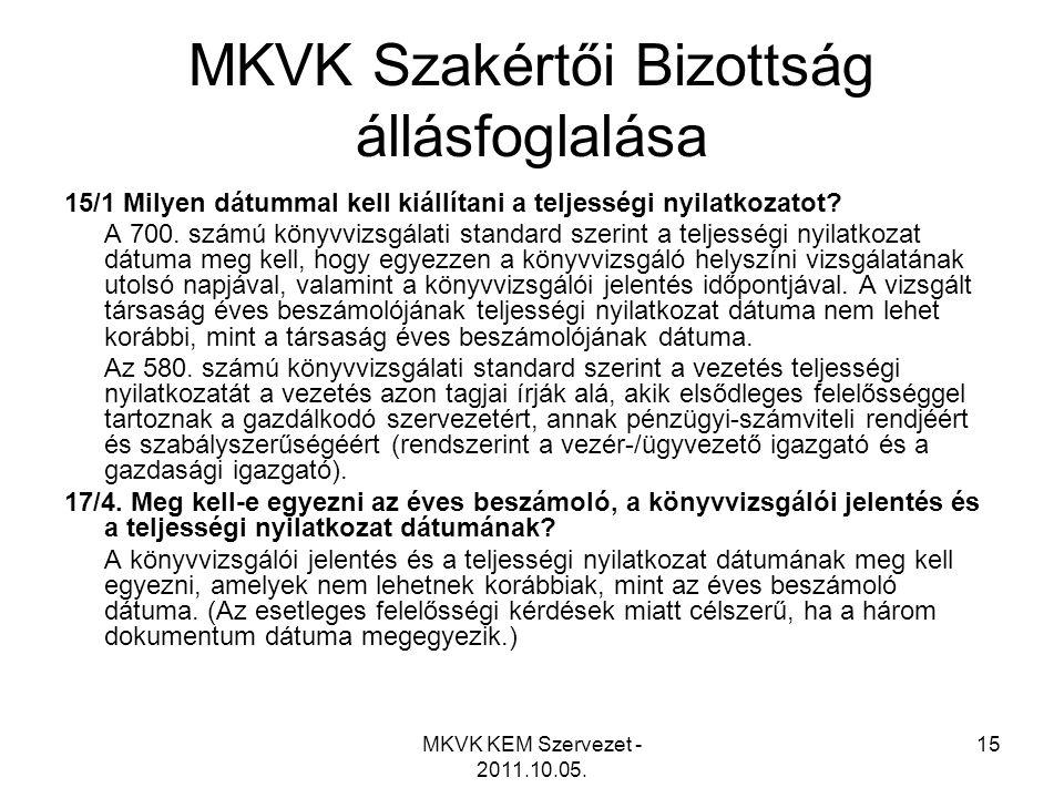 MKVK Szakértői Bizottság állásfoglalása