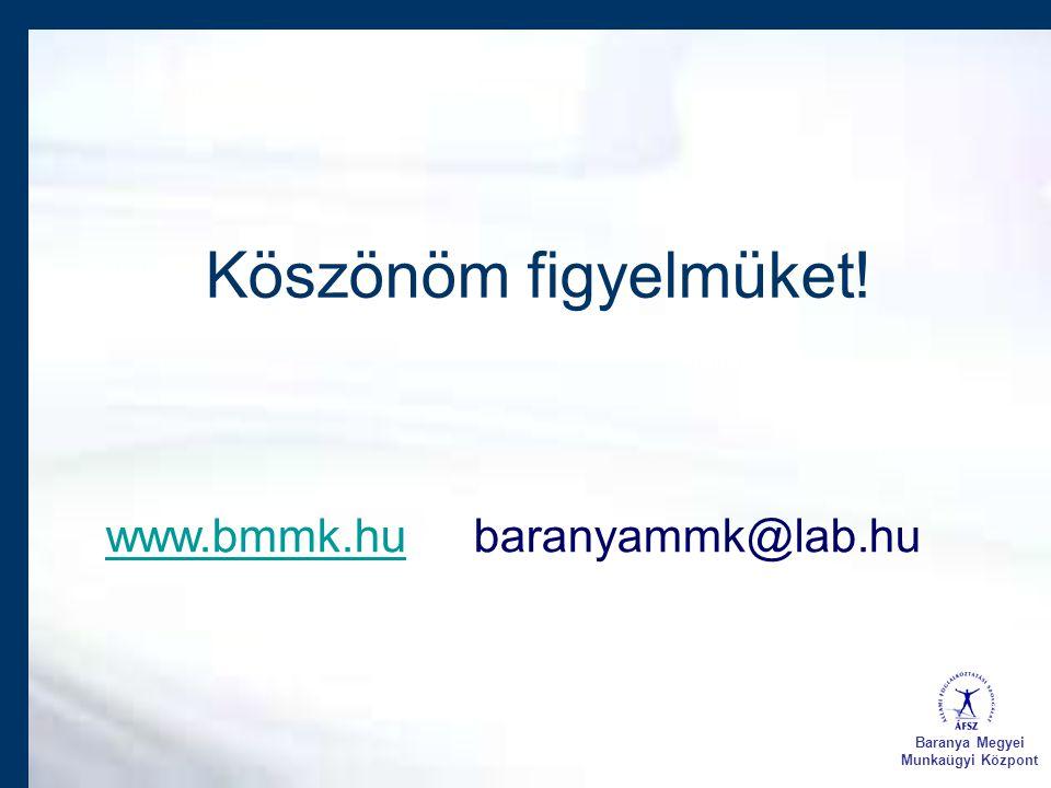 Köszönöm figyelmüket! www.bmmk.hu baranyammk@lab.hu Baranya Megyei