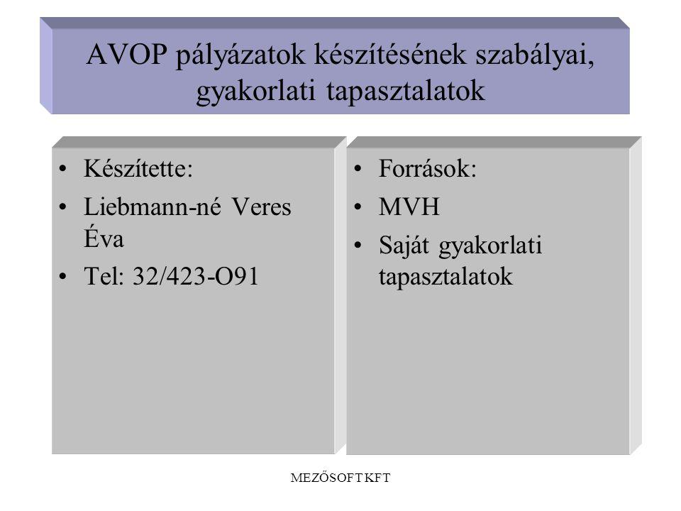 AVOP pályázatok készítésének szabályai, gyakorlati tapasztalatok