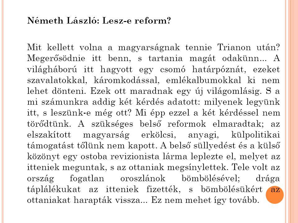 Németh László: Lesz-e reform