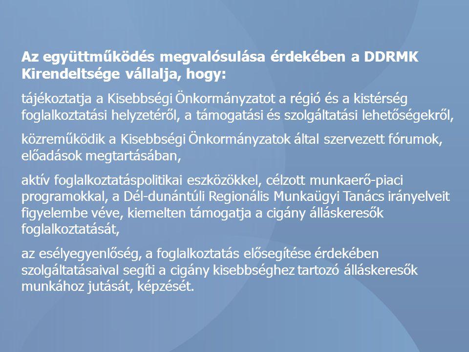 Az együttműködés megvalósulása érdekében a DDRMK Kirendeltsége vállalja, hogy: