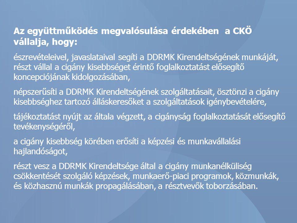 Az együttműködés megvalósulása érdekében a CKÖ vállalja, hogy: