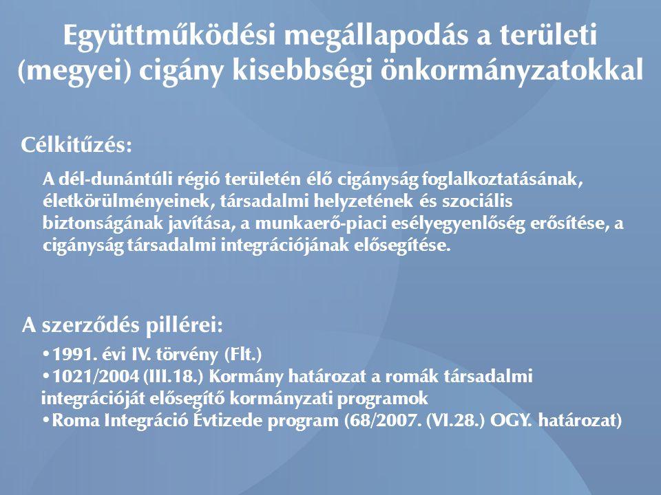 Együttműködési megállapodás a területi (megyei) cigány kisebbségi önkormányzatokkal