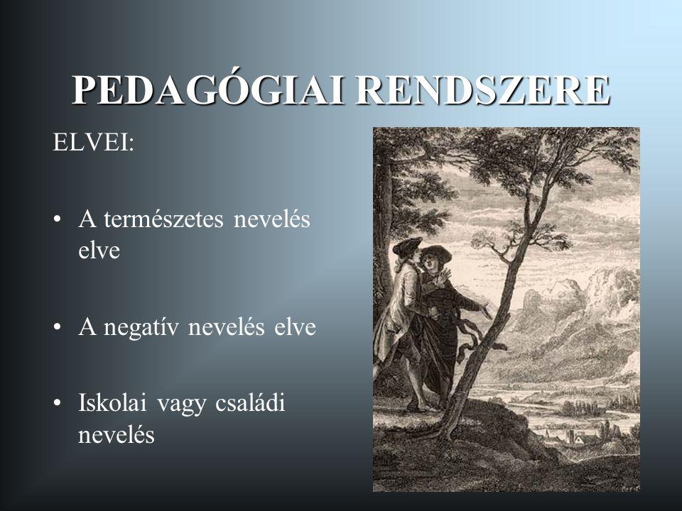 PEDAGÓGIAI RENDSZERE ELVEI: A természetes nevelés elve