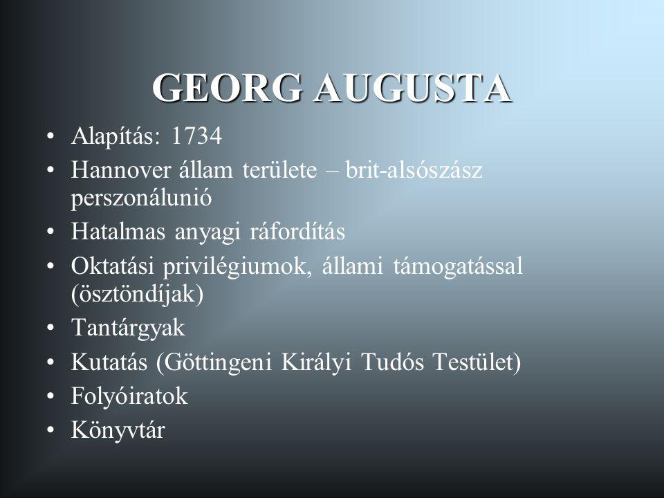 GEORG AUGUSTA Alapítás: 1734