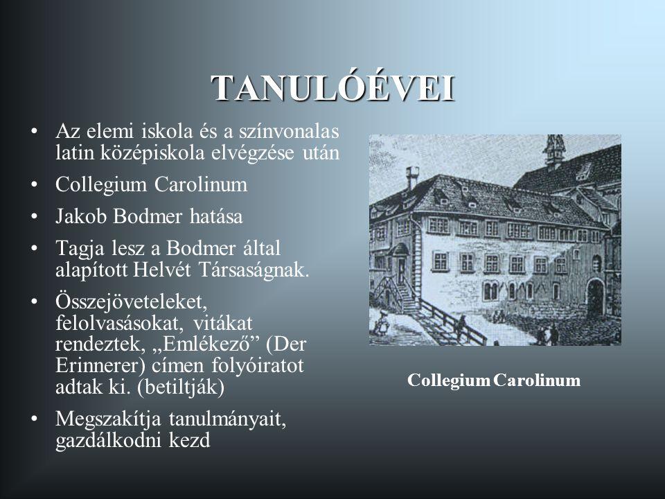TANULÓÉVEI Az elemi iskola és a színvonalas latin középiskola elvégzése után. Collegium Carolinum.