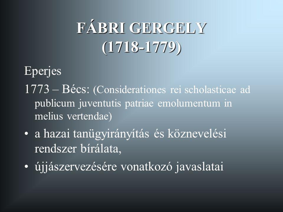 FÁBRI GERGELY (1718-1779) Eperjes