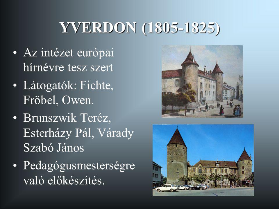 YVERDON (1805-1825) Az intézet európai hírnévre tesz szert