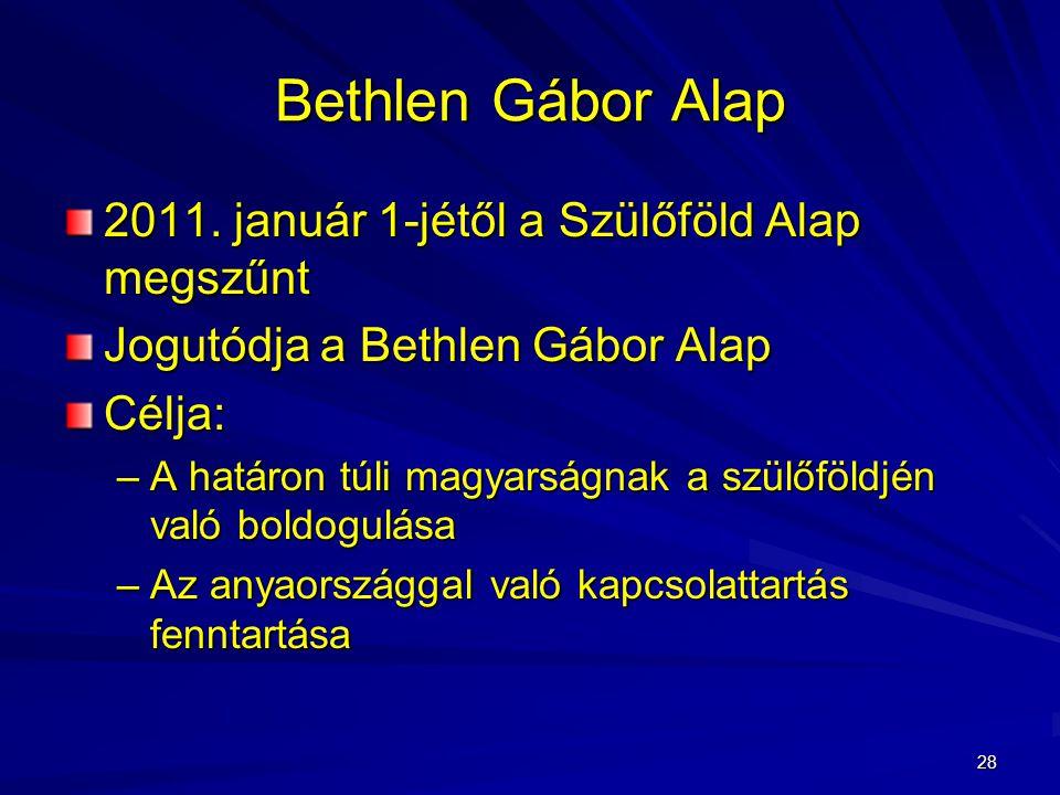 Bethlen Gábor Alap 2011. január 1-jétől a Szülőföld Alap megszűnt