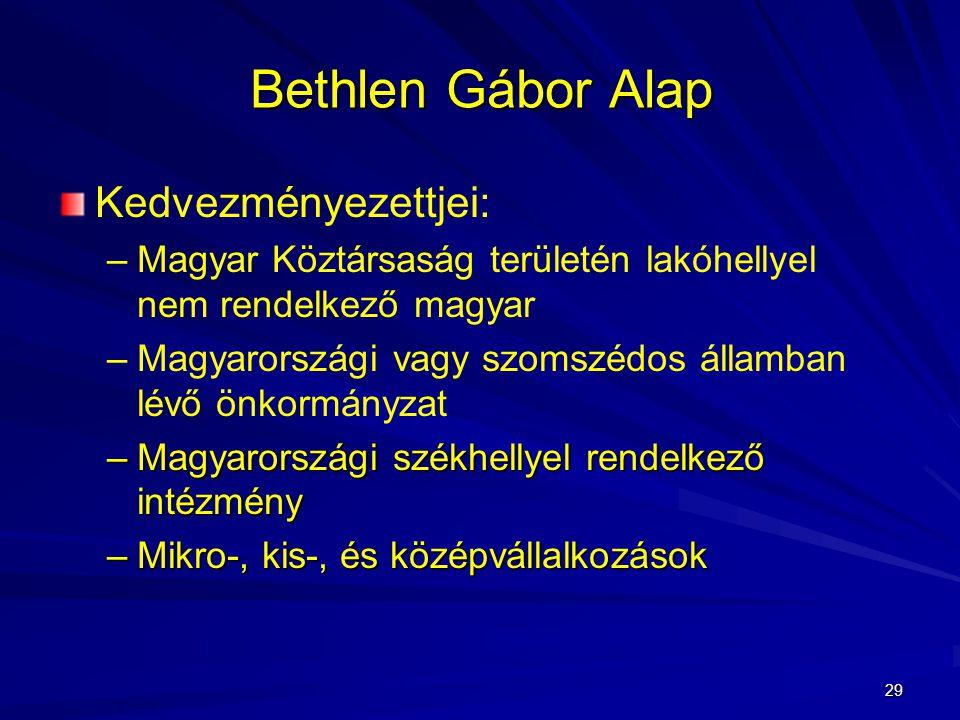 Bethlen Gábor Alap Kedvezményezettjei: