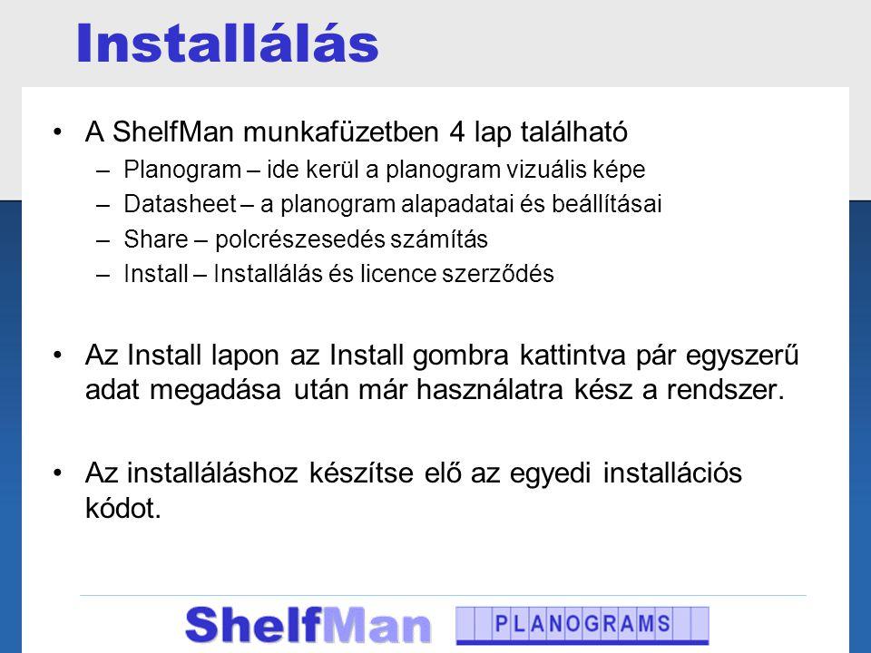 Installálás A ShelfMan munkafüzetben 4 lap található