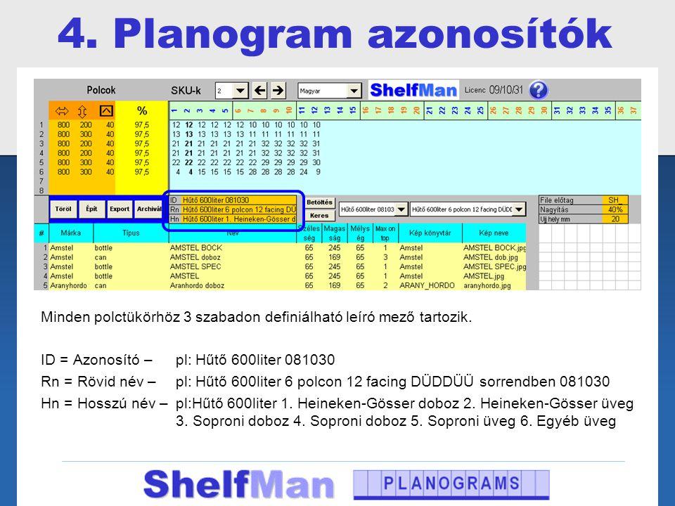 4. Planogram azonosítók Minden polctükörhöz 3 szabadon definiálható leíró mező tartozik. ID = Azonosító – pl: Hűtő 600liter 081030.