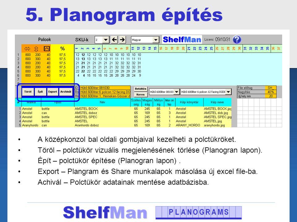 5. Planogram építés A középkonzol bal oldali gombjaival kezelheti a polctükröket.