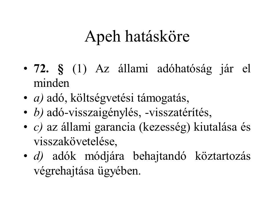 Apeh hatásköre 72. § (1) Az állami adóhatóság jár el minden