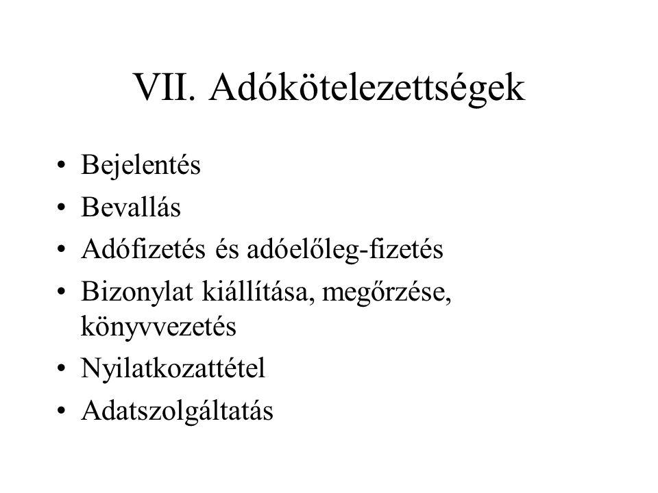 VII. Adókötelezettségek