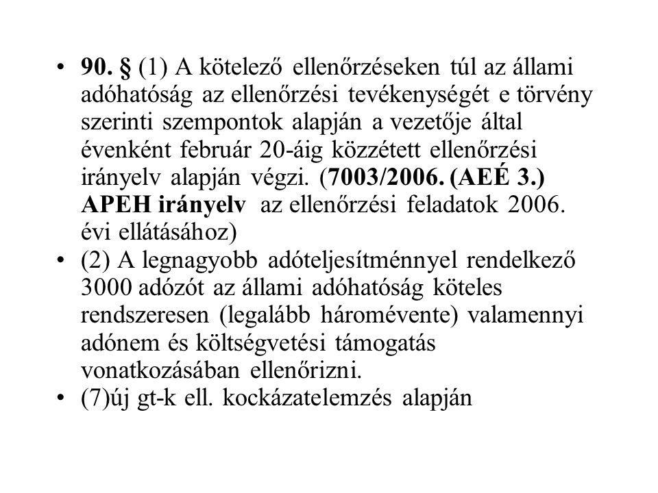 90. § (1) A kötelező ellenőrzéseken túl az állami adóhatóság az ellenőrzési tevékenységét e törvény szerinti szempontok alapján a vezetője által évenként február 20-áig közzétett ellenőrzési irányelv alapján végzi. (7003/2006. (AEÉ 3.) APEH irányelv az ellenőrzési feladatok 2006. évi ellátásához)