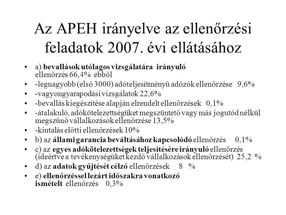 Az APEH irányelve az ellenőrzési feladatok 2007. évi ellátásához