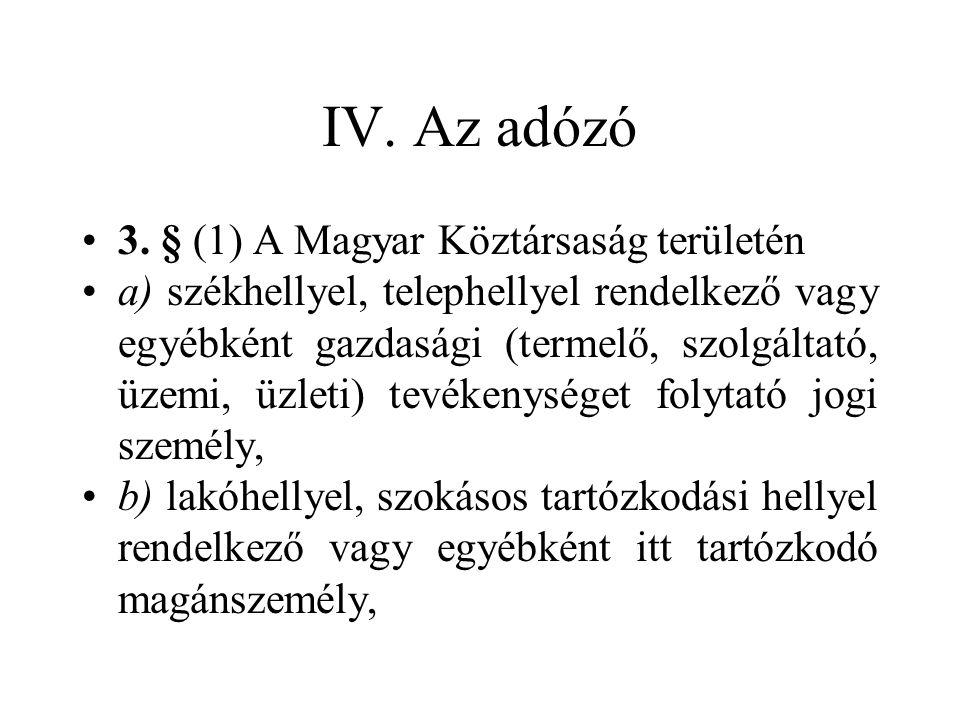 IV. Az adózó 3. § (1) A Magyar Köztársaság területén