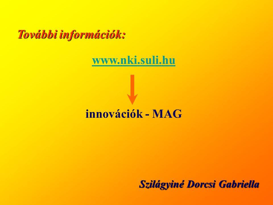 További információk: www.nki.suli.hu innovációk - MAG