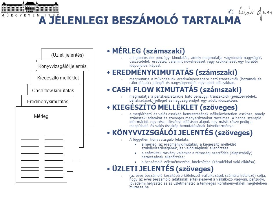A JELENLEGI BESZÁMOLÓ TARTALMA