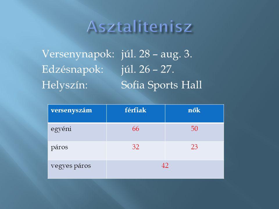 Asztalitenisz Versenynapok: júl. 28 – aug. 3. Edzésnapok: júl. 26 – 27. Helyszín: Sofia Sports Hall