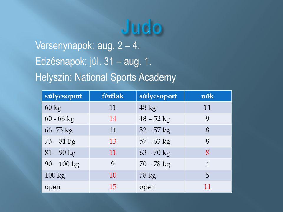 Judo Versenynapok: aug. 2 – 4. Edzésnapok: júl. 31 – aug. 1. Helyszín: National Sports Academy súlycsoport.