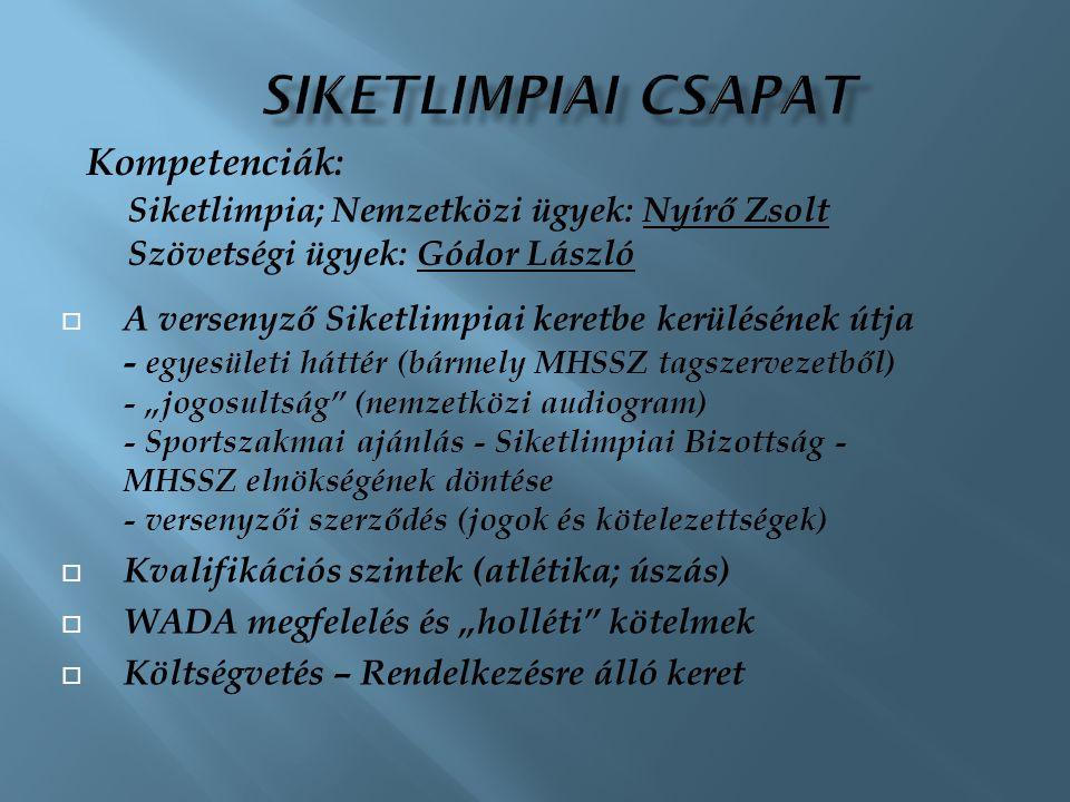Siketlimpiai csapat Kompetenciák:
