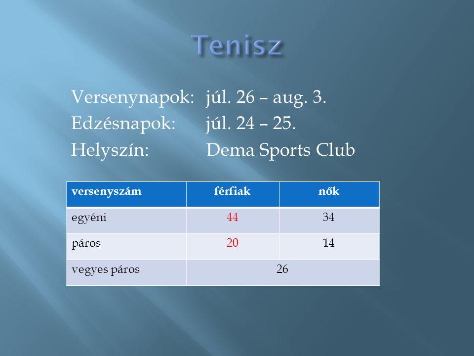 Tenisz Versenynapok: júl. 26 – aug. 3. Edzésnapok: júl. 24 – 25. Helyszín: Dema Sports Club versenyszám.