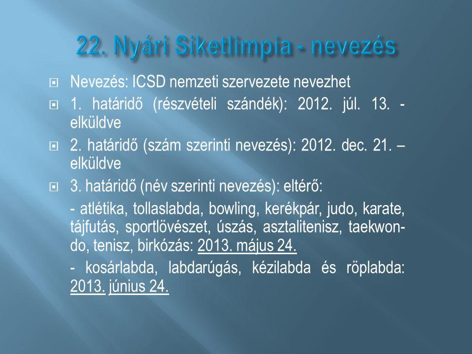 22. Nyári Siketlimpia - nevezés