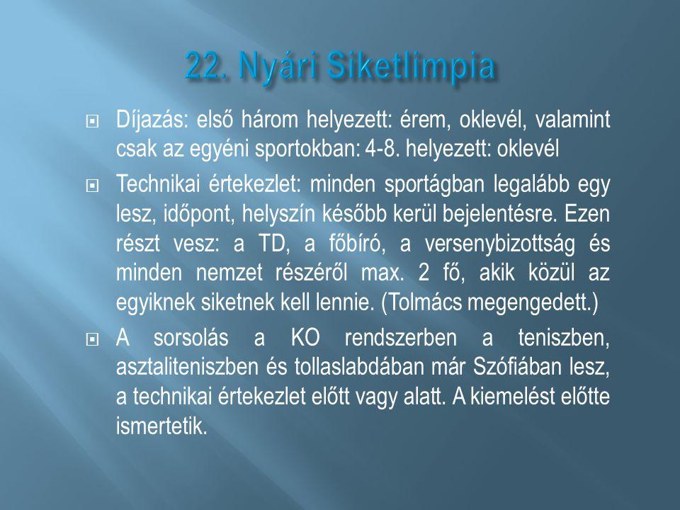 22. Nyári Siketlimpia Díjazás: első három helyezett: érem, oklevél, valamint csak az egyéni sportokban: 4-8. helyezett: oklevél.