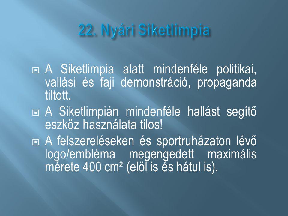 22. Nyári Siketlimpia A Siketlimpia alatt mindenféle politikai, vallási és faji demonstráció, propaganda tiltott.