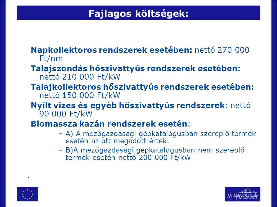Fajlagos költségek: Napkollektoros rendszerek esetében: nettó 270 000 Ft/nm. Talajszondás hőszivattyús rendszerek esetében: nettó 210 000 Ft/kW.