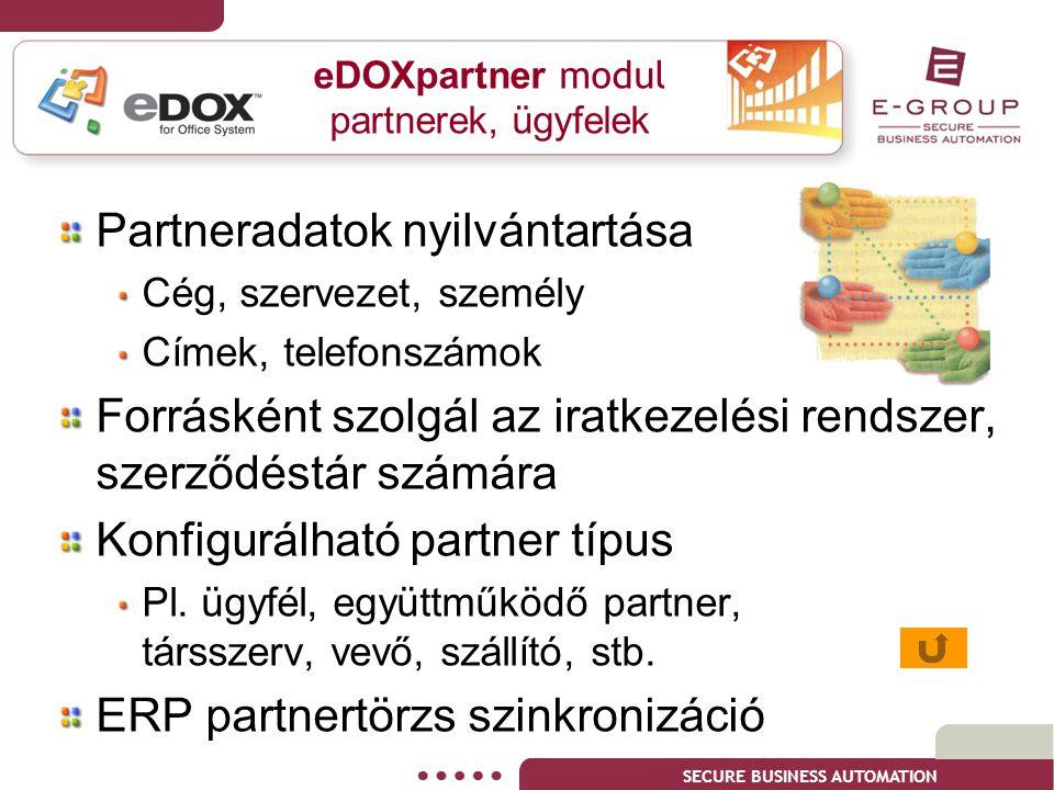 eDOXpartner modul partnerek, ügyfelek