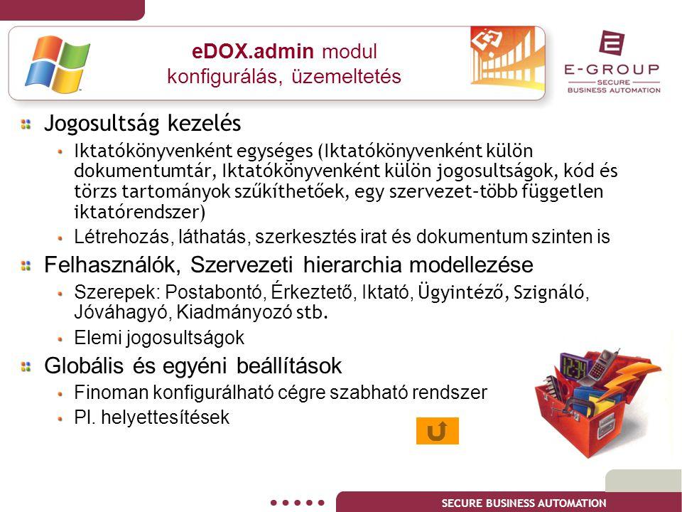 eDOX.admin modul konfigurálás, üzemeltetés