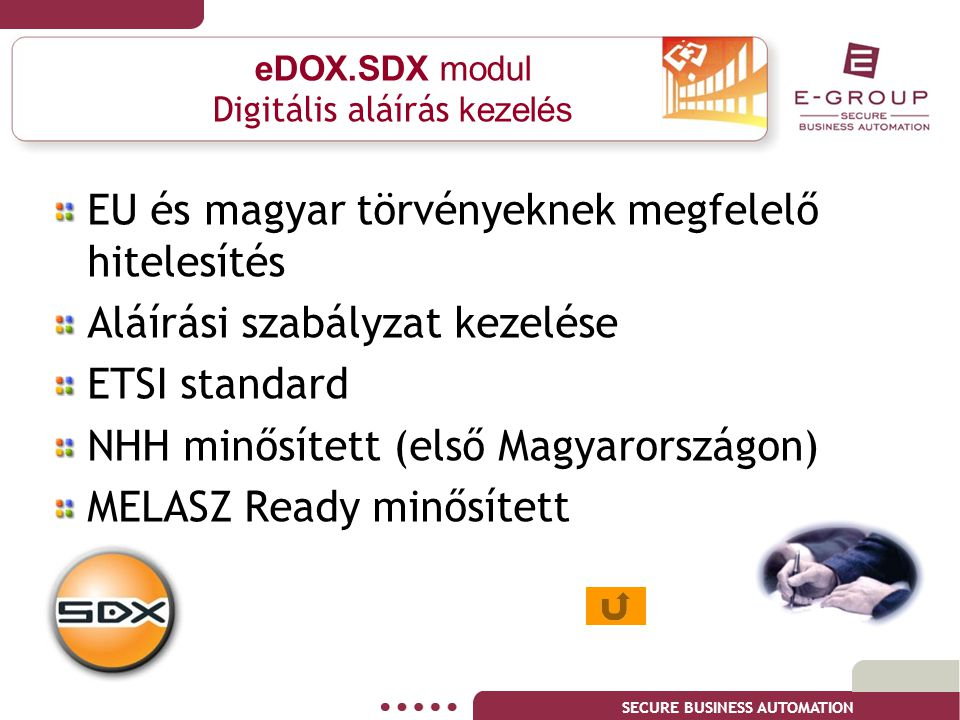 eDOX.SDX modul Digitális aláírás kezelés