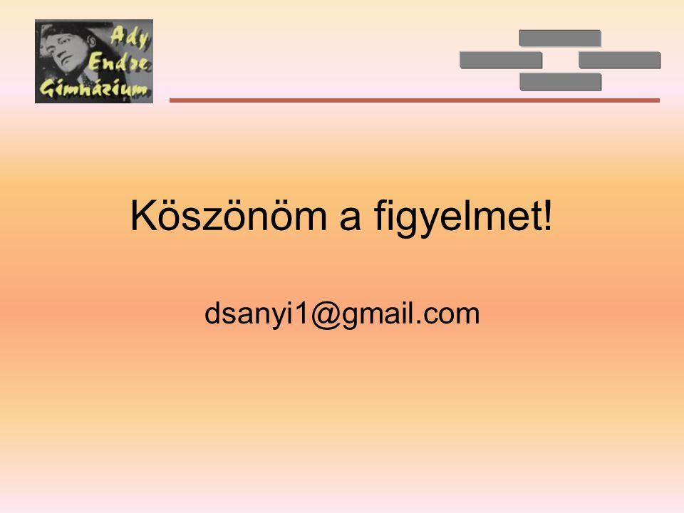 Köszönöm a figyelmet! dsanyi1@gmail.com