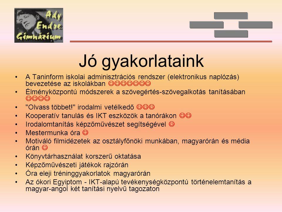 Jó gyakorlataink A Taninform iskolai adminisztrációs rendszer (elektronikus naplózás) bevezetése az iskolákban 